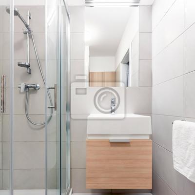 Fototapete: Graues badezimmer mit waschbecken