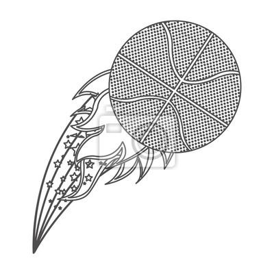 Graustufen-Kontur mit olympischen Flamme mit Basketball-Kugel Vektor-Illustration