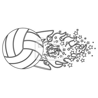 Graustufen-Kontur mit olympischen Flamme mit Sternen und Volleyball-Ball Vektor-Illustration