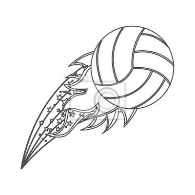 Graustufen-Kontur mit olympischen Flamme mit Volleyball-Kugel Vektor-Illustration