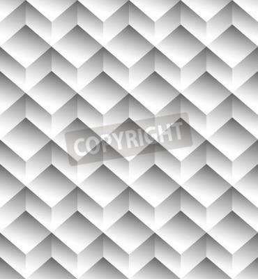 Fototapete Graustufen, monochrome nahtlose Muster, Hintergrund mit 3d Würfel