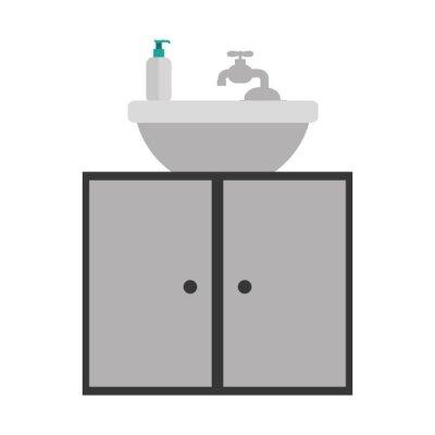Fototapete Graustufen Silhouette Waschtisch Mit Schrank Von Zwei Türen  Vektor Illustration