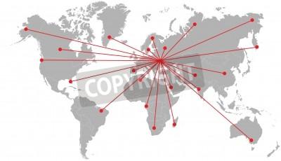Gray silhouette of world map. fototapete • fototapeten Computer ...