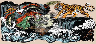 Fototapete Green Chinese East Asian dragon versus tiger in the landscape with waterfall and water waves  . Two spiritual creatures in the Buddhism representing the spirit heaven and matter earth. Graphic style v