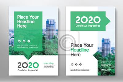 Fototapete Green Color Scheme mit Stadt Hintergrund Business Book Cover Design-Vorlage in A4. Anpassung an Broschüre, Jahresbericht, Magazin, Poster, Firmenpräsentation, Portfolio, Flyer, Banner, Website