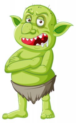 Green goblin or troll standing pose with anger face in cartoon character isolated