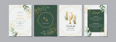 Fototapete Green gold leaves wedding invitation card template