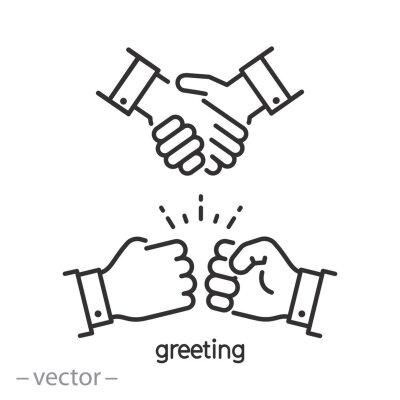Fototapete greeting fist instead handshake, icon, hello, bumps punch, hail salute,  thin line symbol on white background - editable stroke vector illustration eps10