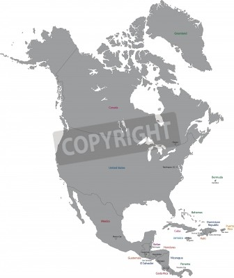 Grey north america map with countries and capital cities fototapete ...