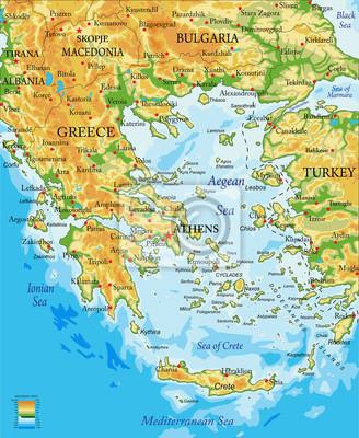Karte Griechenland.Fototapete Griechenland Erleichterung Karte