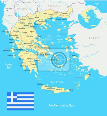Karte Griechenland.Fototapete Griechenland Karte Und Flagge Illustration