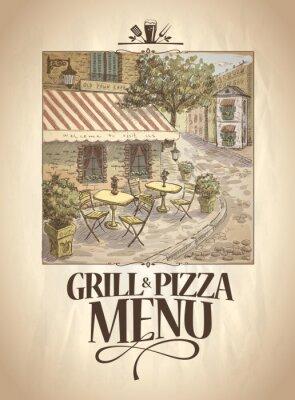 Fototapete Grill und Pizza-Menü mit Grafik Illustration ein Straßencafé.