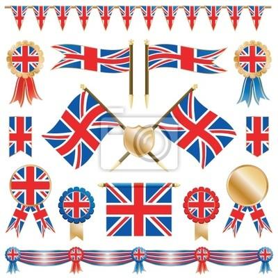 Großbritannien Fahnen und Rosetten
