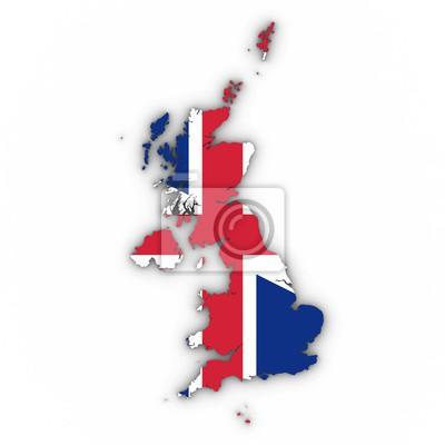 Großbritannien Karte Umriss.Fototapete Großbritannien Karte Umriss Mit Britischen Flagge Auf Weiß Mit