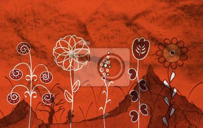 Große Blumen im Gras auf dem roten Hintergrund