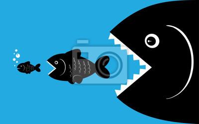 Fototapete große Fische fressen kleine Fische