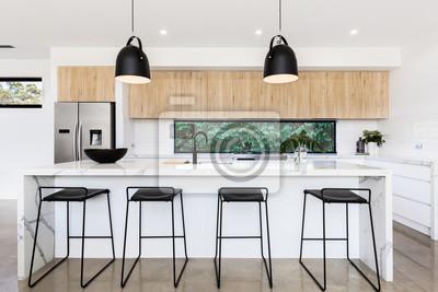 Grosse Luxuriose Australische Kuche Mit Marmor Inselbank Fototapete