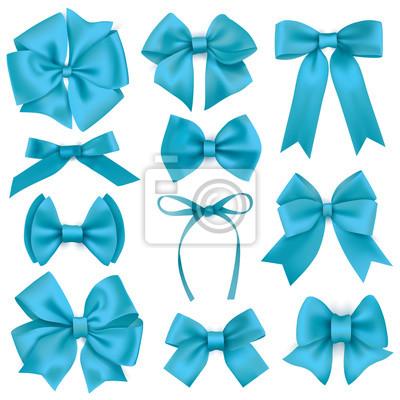 Große Reihe von realistischen blauen Geschenk Bögen und Bänder