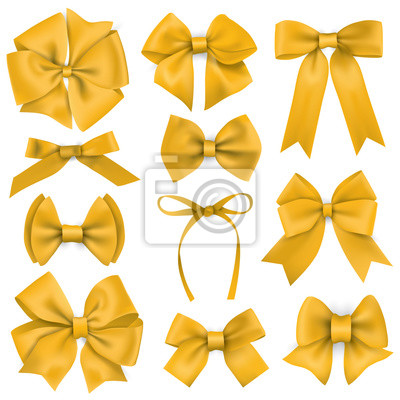 Große Reihe von realistischen gelben Geschenk Bögen und Bänder
