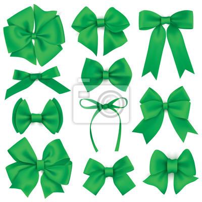 Große Reihe von realistischen grünen Geschenk Bögen und Bänder