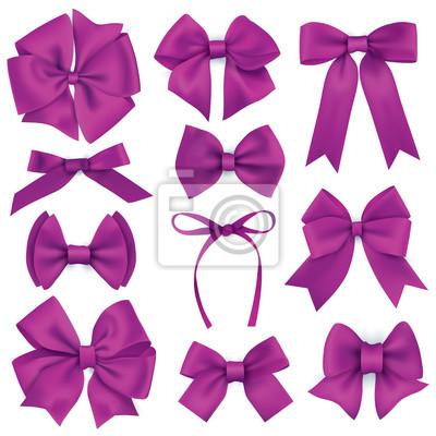 Große Reihe von realistischen lila Geschenk Bögen und Bänder