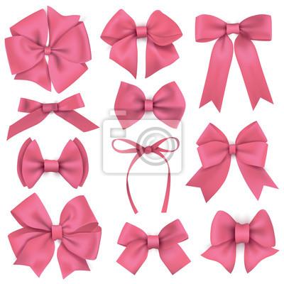 Große Reihe von realistischen rosa Geschenk Bögen und Bänder