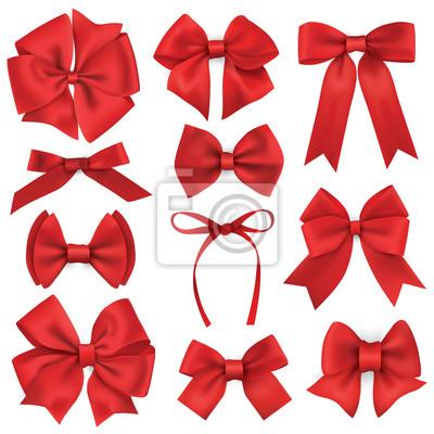 Große Reihe von realistischen roten Geschenk Bögen und Bänder