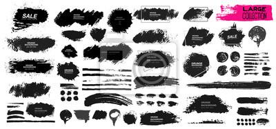 Fototapete Große Reihe von schwarzen Farbe, Tinte Pinsel, Pinsel. Dirty Element Design, Box, Rahmen oder Hintergrund für Text. Linie oder Textur. Vektor-Illustration. Isoliert auf weißem Hintergrund. Leere Forme