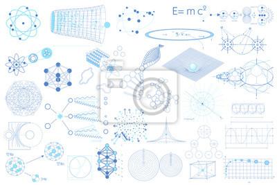 Große Sammlung von Elementen, Symbolen und Schemen der Physik