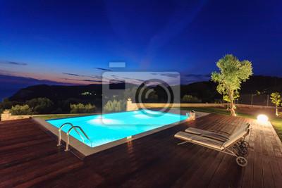 Luxus pool  Großer luxus-pool mit villa fototapete • fototapeten tour tourismus ...