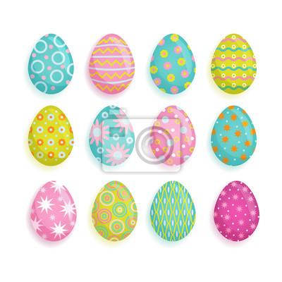 Großer Satz farbige Eier, Ostern-Dekorationselement, Karikaturvektorillustration lokalisiert auf weißem Hintergrund. Satz der Karikaturart malte Ostereier, die mit Stern, Punkt, Streifen, Blumenmuster