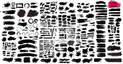 Fototapete Großer Satz schwarzer Farbe, Pinselstriche, Pinsel, Linien, schmuddelig.  Schmutzige künstlerische Gestaltungselemente, Kästen, Rahmen.  Vektorillustration.  Auf weißem Hintergrund isoliert.  Freihand