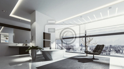 Großes badezimmer mit wanne und stuhl fototapete • fototapeten ...