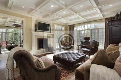 Gut bekannt Großes wohnzimmer mit kamin fototapete • fototapeten Ausstattung AG59