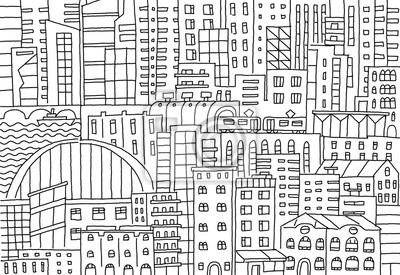 Fototapete Grossstadt Hintergrund Textur Wolkenkratzer Skizze Gebaude Linie Skelett Striche Moderne Architektur Landschaft Hand Gezeichnete