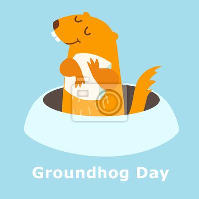 Groundhog-Tag. Vektor-Illustration isoliert auf blauem Hintergrund. Groundhog peeking aus einem Loch in den Boden