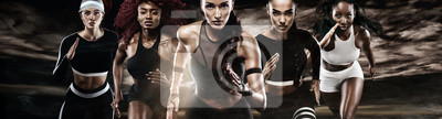 Fototapete Group of five strong athletic women, sprinters, running on dark background wearing in the sportswear, fitness and sport motivation. Runner concept.