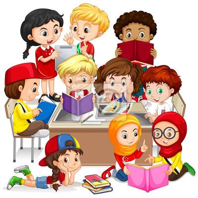 Group of international children learning
