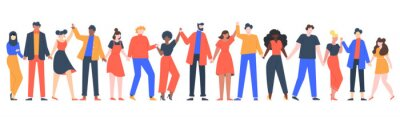 Fototapete Group of smiling people. Team of young men and women holding hands, characters standing together, friendship, unity concept vector illustration. Group people woman and man standing