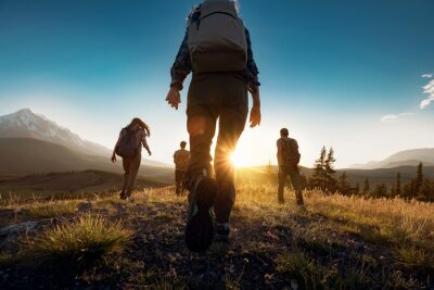 Fototapete Group of sporty people walks in mountains at sunset with backpacks. Altai mountains, Siberia, Russia.