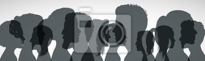Fototapete Group young people. Profile silhouette faces girls and boys – vector for stock
