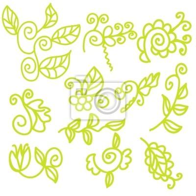Grün lustig floralen Design-Elemente