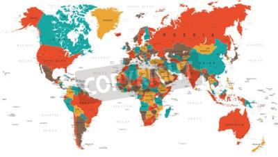 Fototapete Grün Rot Gelb Braun Weltkarte - Grenzen, Länder und Städte - Abbildung