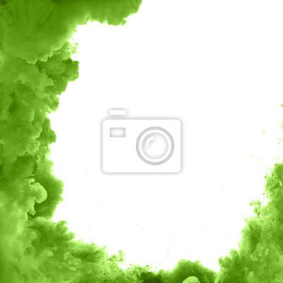 Grüne acrylfarben und tinte im wasser. wolke explosion, tinte ...