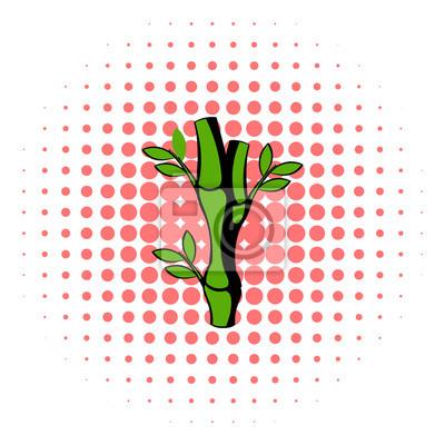 Grune Bambus Stiel Symbol Comic Stil Fototapete Fototapeten