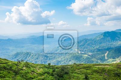 Fototapete Grüne Berggipfel hellen Himmel