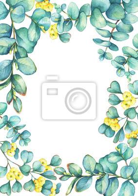 Watercolor Vector Wreath With Green Eucalyptus 8