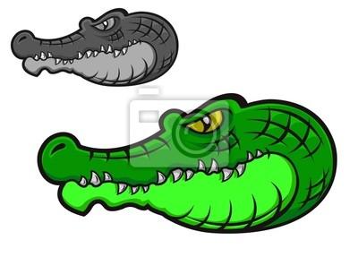 Grüne Cartoon-Krokodil