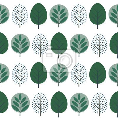 Fototapete Grüne dekorative Bäume nahtlose Muster. Nette Natur Hintergrund mit grünen Blättern. Skandinavischen Stil Wald Vektor-Illustration. Design für Textilien, Tapeten, Stoffe.