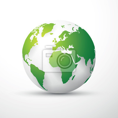 Grüne erde globus fototapete • fototapeten Hemisphäre, europa, bio ...